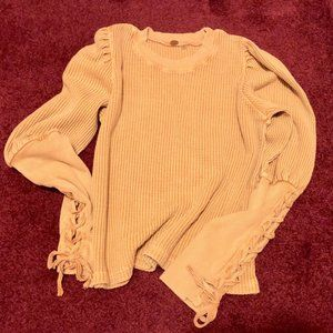 Free People Cropped Thermal w/ Corset Sleeves
